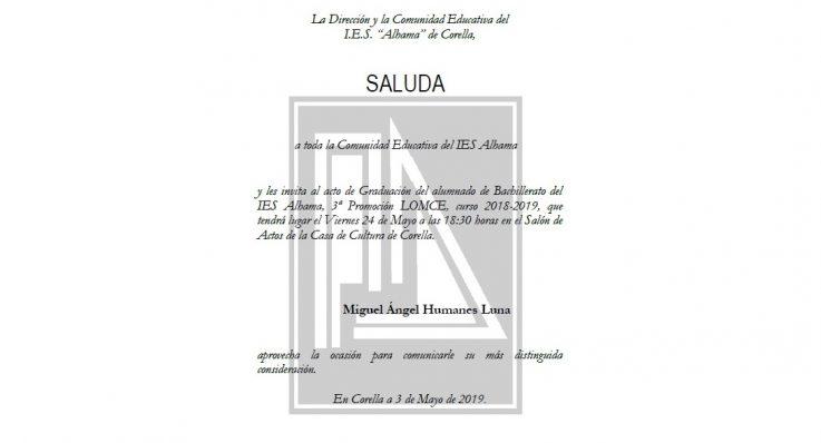 Acto de Graduación de la Tercera Promoción LOMCE, curso 2018-2019, de 2º Bachillerato del IES Alhama de Corella